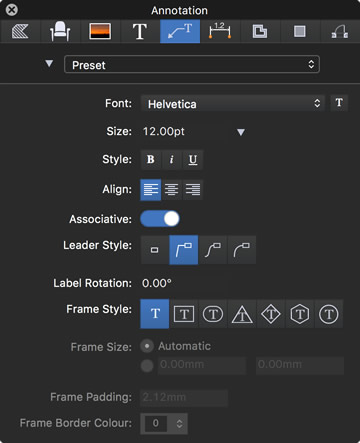 HighDesign 2017 Annotation settings