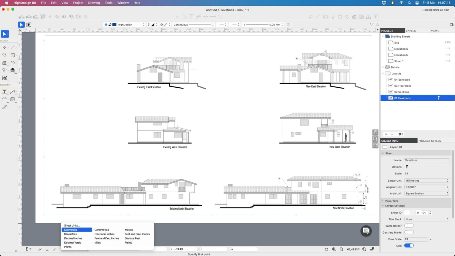 HighDesign CAD project with sheets and layouts.