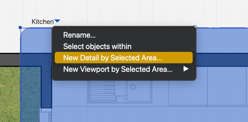 Create a new Detail sheet by the selected area.